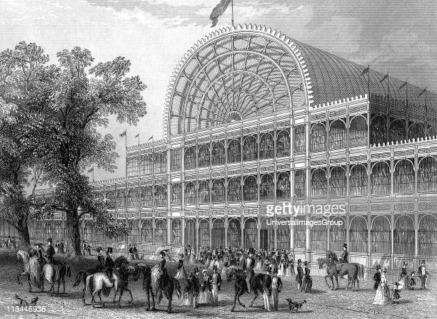 Exterior of the North Transept of the Crystal Palace London at the time of the Great Exhibition of 1851 Steel engraving 1851