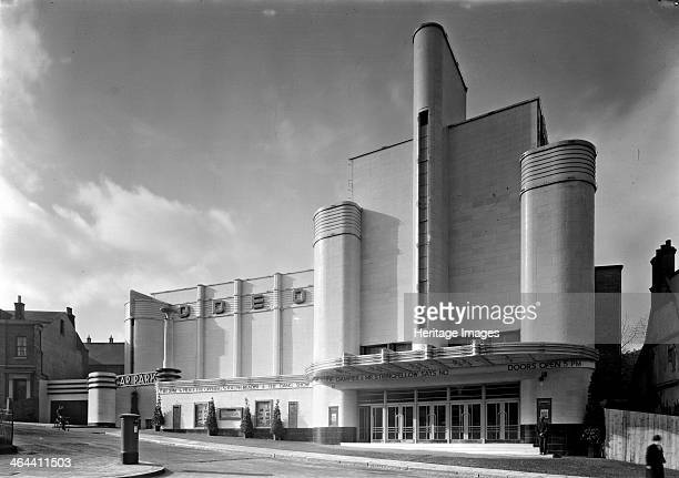 Exterior of the Odeon cinema Parsons Hill Woolwich London 1937 Photographed in its opening week in 1937 Faced in faience with a strong vertical...