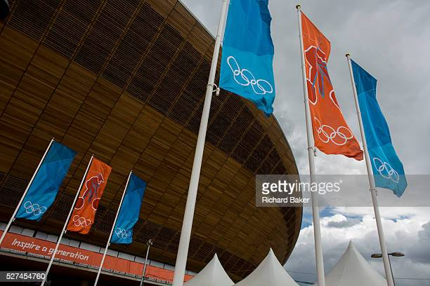 Exterior of the of the ��105m Siberian Pine Velodrome curved roof during the London 2012 Olympics. The London Velopark is a cycling centre in Leyton...