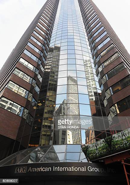 Exterior of the offices of of troubled insurer American International Group Inc September 17 2008 in the lower Manhattan area of New York The US...