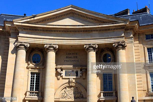 exterior of the paris law faculty - university of paris stock photos and pictures