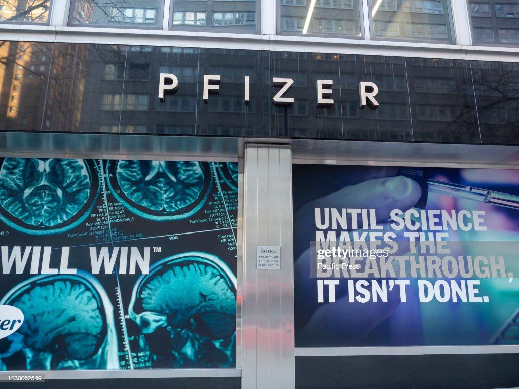 Exterior of the Pfizer World headquater building. Pfizer... : News Photo