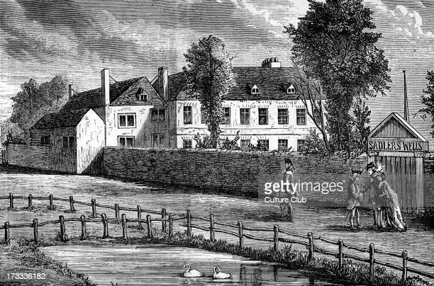 Exterior of the Sadler's Wells Theatre, London in 1756, with passers-by. Opened as a 'musick house' by Dick Sadler in 1683, later becoming known for...