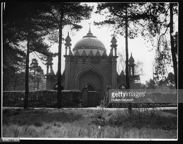 Exterior of the Shah Jehan Mosque between the trees at Woking