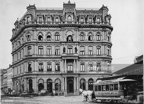 Exterior of the Staatszeitung Building on Tryon Row New York New York 1880s Bischoff's Wechsel Bank and the Department of Taxes and Assessments are...