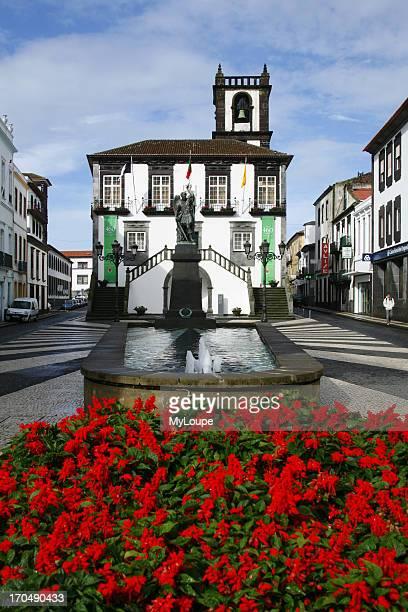 Exterior of The town hall building of Ponta Delgada Azores Islands Portugal