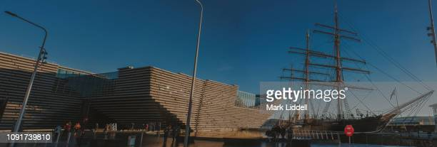Exterior of the V&A design museum in Dundee, Scotland with RRS Discovery