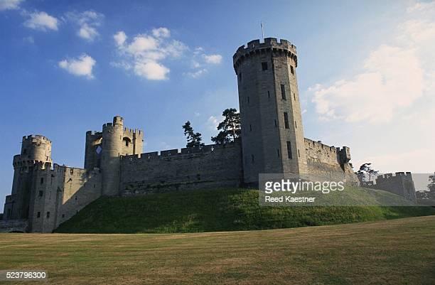 exterior of warwick castle - warwick castle bildbanksfoton och bilder
