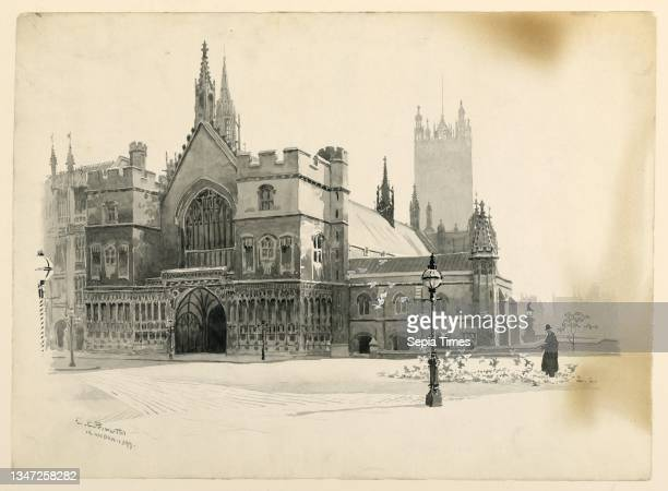 Exterior of Westminster Hall, Ernest Clifford Peixotto, American, 1869–1940, Charles Scribner's Sons, New York, New York, USA, Brush and grey...
