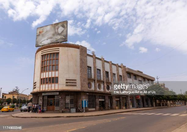 Exterior of zilli bar with its radio-style facade from the italian colonial times, Central region, Asmara, Eritrea on August 22, 2019 in Asmara,...
