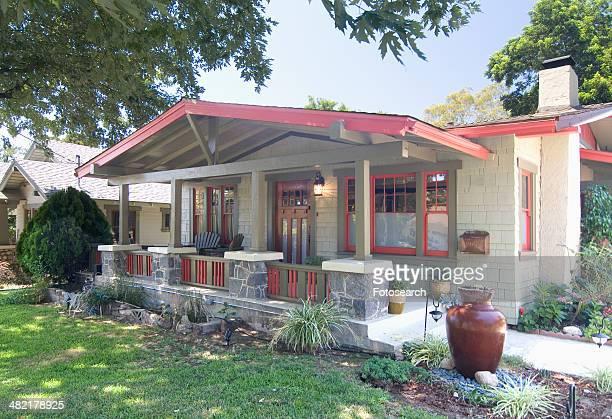 exterior one story bungalow in pasadena california - pasadena california stock photos and pictures