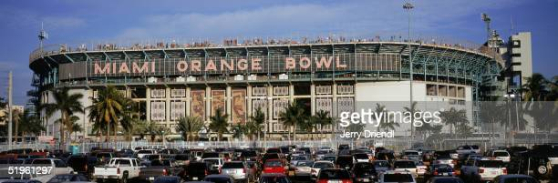 Exterior panoramic view of Orange Bowl Stadium as the University of Miami Hurricanes host Virginia Tech on December 4 2004 in Miami Florida