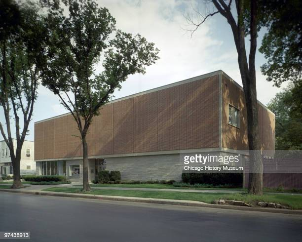 Exterior perspective view of the Illinois Bell Telephone Company office in Lake Forest IL 1961