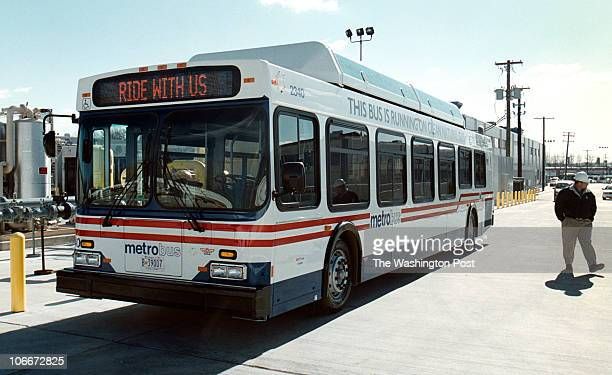 Exterior picture of Metro's new Compressed Natural Gas bus on display at the Bladensburg Bus Garage ORG XMIT 120447