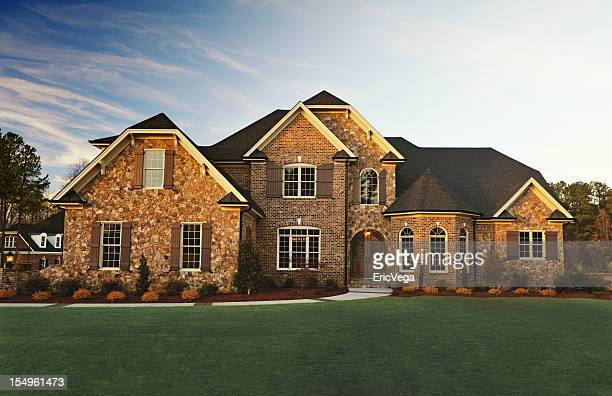 exterior residential house - brick house stock pictures, royalty-free photos & images