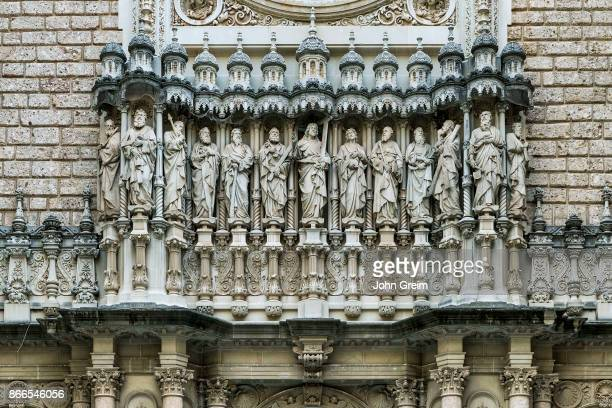 MONTSERRAT CATALUNYA SPAIN Exterior sculpture of Jesus and the twelve apostles Santa Maria de Montserrat Monistrol de Montserrat