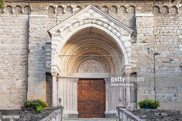 exterior shot of embrun cathedral (cathedrale notre-dame du real d'embrun) - embrun stock pictures, royalty-free photos & images