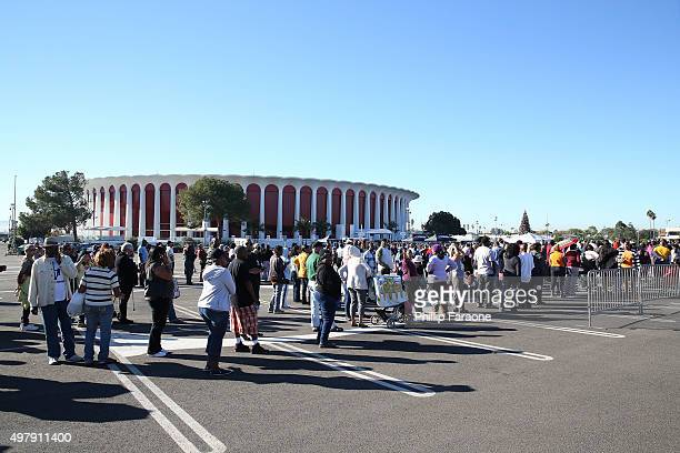 Exterior shot of the 2nd Annual Thanksgiving Turkey Giveaway at The Forum on November 19 2015 in Inglewood California