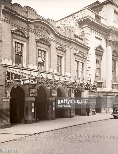 A 1943 exterior shot of the theatre part of the Bristol Old Vic's archive is displayed at the Bristol Record Office on May 25 2016 in Bristol England...
