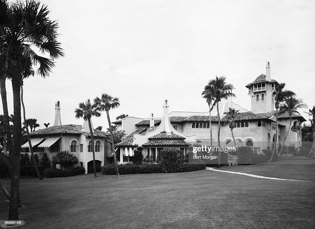 Exterior, side view at Mar-a-Lago (1100 South Ocean Boulevard), Palm Beach, Florida, mid 1950s. The residence, designed by Marion Sims Wyeth and Joseph Urban, was the home of heiress, businesswoman, and philanthropist Marjorie Merriweather Post.