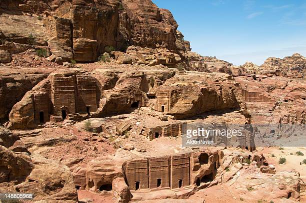 Exterior Siq, The Street of Facades,  carved in southern cliff face of the outer Siq.