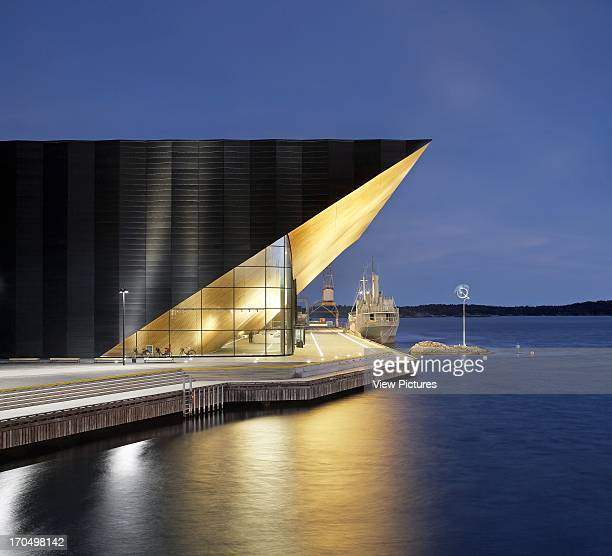 Exterior view at dusk Kilden Performing Arts Centre Concert Hall Europe Norway ALA Architects