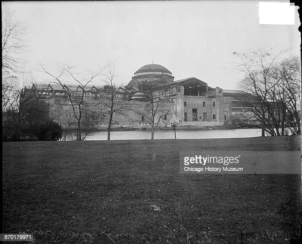 Exterior view from a lawn across the street of the repaired Fine Arts Building from the World's Columbian Exposition of 1893 which became the Field...