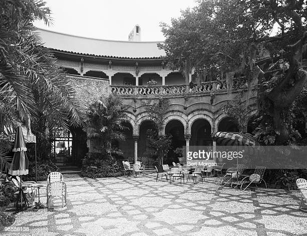 Exterior view from a tiled garden terrace at MaraLago Palm Beach Florida mid 1950s The residence designed by Marion Sims Wyeth and Joseph Urban was...
