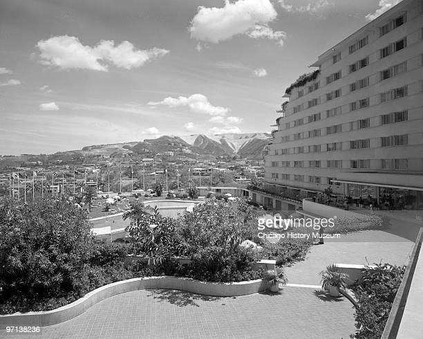 Exterior view from the rear of the building the Tamanaco Hotel in Caracas Venezuela 1958 Designed by Holabird Root