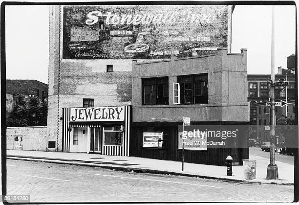 Exterior view of a building on Sheridan Square that according to the sign will be the home of the Village Voice newspaper New York New York August 10...