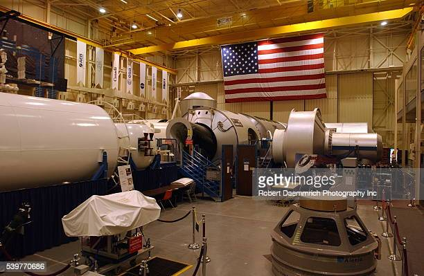 Exterior view of a mockup of the International Space Station at the Johnson Space Center in Houston NASA held handson demonstration briefings and...