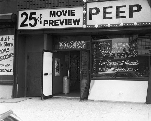 Exterior view of a peep show and adult bookstore in...