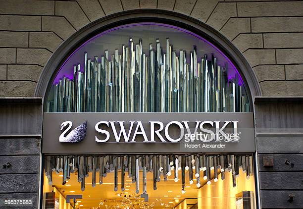 Exterior view of a Swarovski jewelry and fashion accessories store in Florence, Italy. Founded in 1895 in Austria, Swarovski designs and markets...