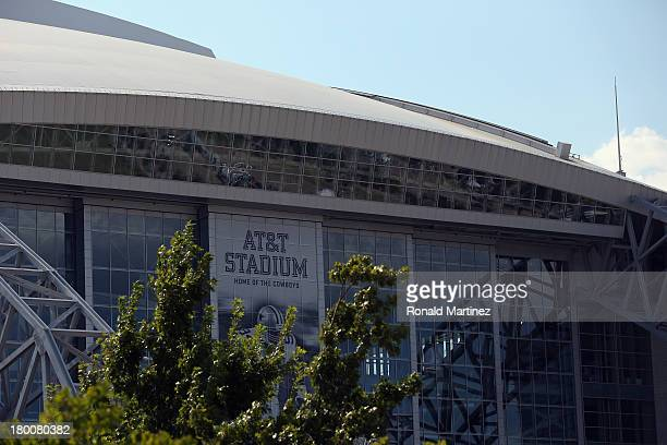 A exterior view of ATT Stadium before a Sunday night football game between the New York Giants and the Dallas Cowboys on September 8 2013 in...