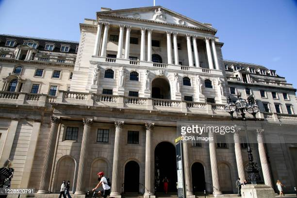 Exterior view of Bank of England in London.