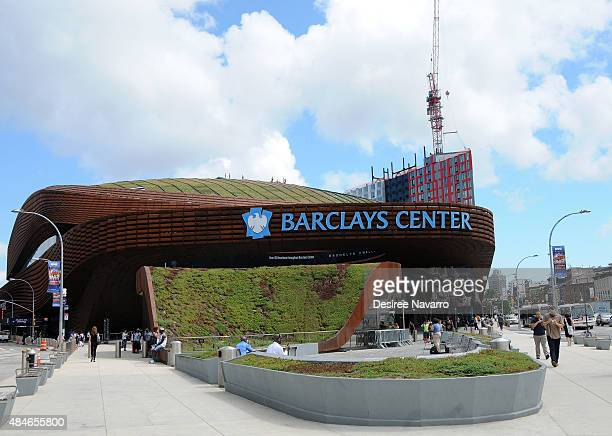 Exterior view of Barclays Center during WWE Answer The Call Tour Visits the Barclays Center at Barclays Center on August 20 2015 in New York City