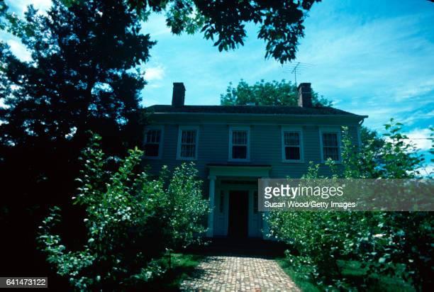 Exterior view of businesswoman Martha Stewart's home Westport Connecticut August 1976