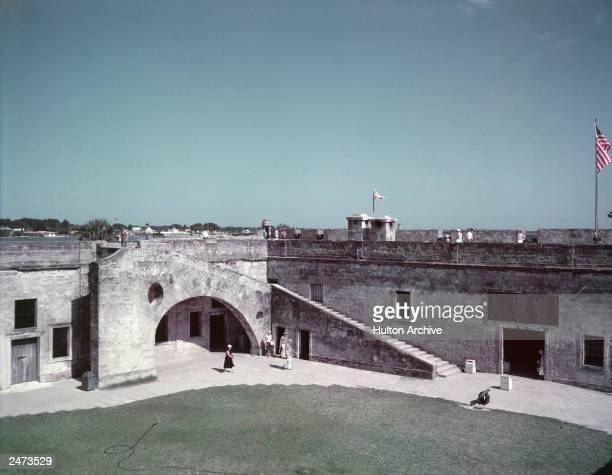 Exterior view of Castillo de San Marcos National Monument masonry fort completed in 1695 and St Augustine Harbor Florida