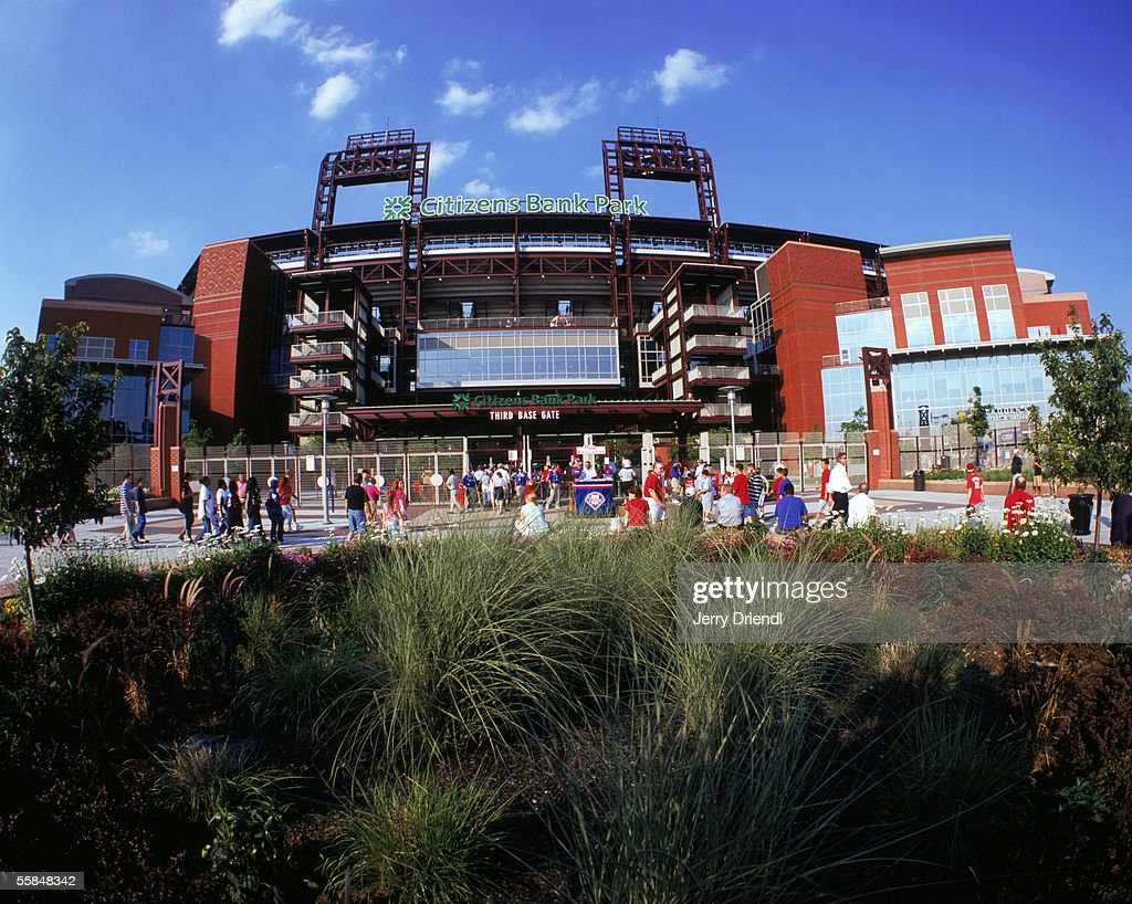 Exterior view of Citizens Bank Park third base gate as fans enter to see the Philadelphia Phillies host the New York Mets on June 23, 2005 in Philadelphia, Pennsylvania. The Mets won 4-3.
