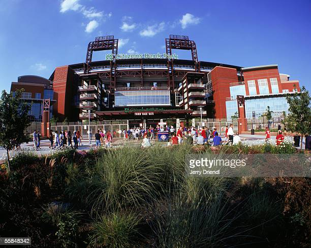 Exterior view of Citizens Bank Park third base gate as fans enter to see the Philadelphia Phillies host the New York Mets on June 23, 2005 in...
