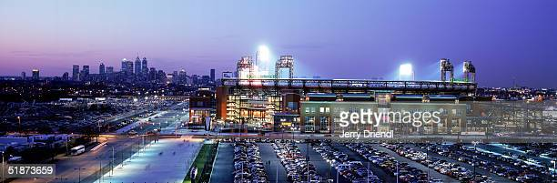 Exterior view of Citizens Bank Park with the Philadelphia City skyline at sunset prior to a game between the Montreal Expos and the Philadelphia...