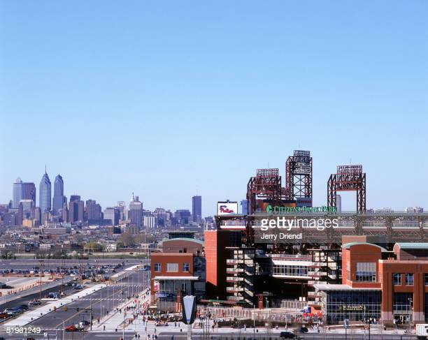Exterior view of Citizens Bank Park with the Philadelphia City skyline in the background prior to a game between the Montreal Expos and the...