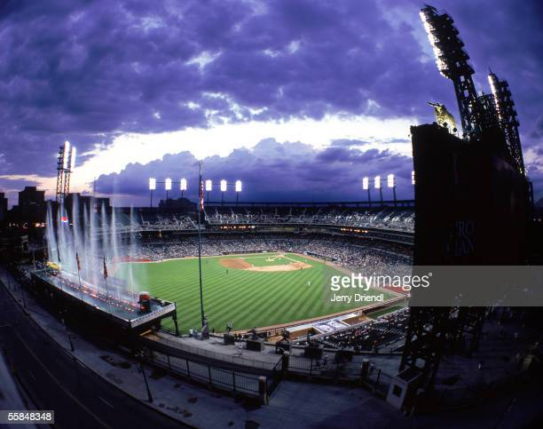 Exterior view of Comerica Park with a silhouette of the outfield scoreboard during a game between the Detroit Tigers and the San Diego Padres on June...