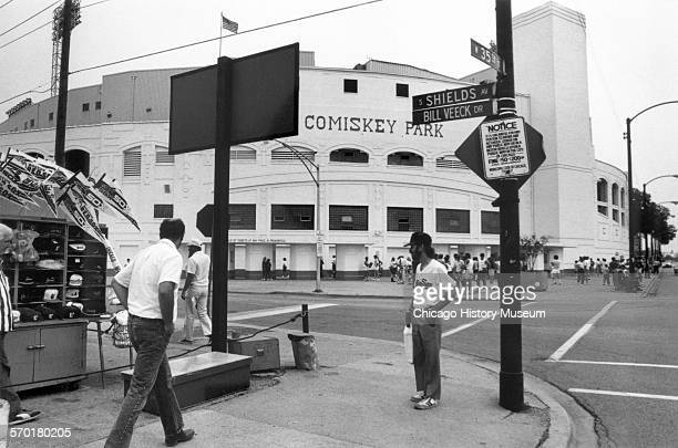 Exterior view of Comiskey Park at 35th Avenue and South Shields Avenue Chicago Illinois 1988