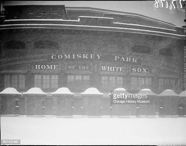 Exterior view of Comiskey Park during a snowstorm Chicago Illinois 1935