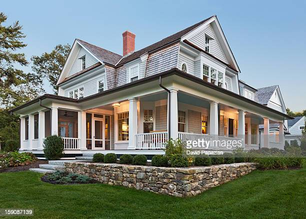 exterior view of custom home. - landscaped stock pictures, royalty-free photos & images
