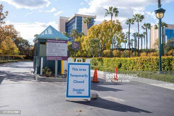 Exterior view of Disneyland is seen on March 17, 2020 in Los Angeles, California. The tourism and entertainment industries have been hit hard by...