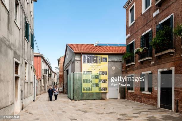 Exterior view of entrance to pavilion Aftermath Catalonia Pavilion XV Venice Biennale Venice Italy Architect Jaume Prats Jelena Prokopljevic Isaki...