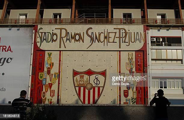Exterior view of Estadio Ramon Sanchez Pizjuan ahead of the La liga match between Sevilla FC and Rayo Vallecano de Madrid on September 25, 2013 in...
