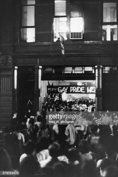 Exterior view of former fire station turned community center the Gay Activist Alliance Firehouse New York New York June 11 1971 A handmade sign reads...